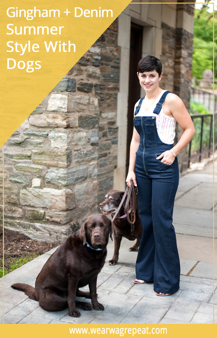 Gingham and Denim, the perfect Summer Style combo for a fashionable dog mom! Click for more photos, and the adorable gingham collars in this post!