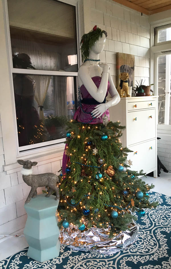 mannequin christmas tree dress