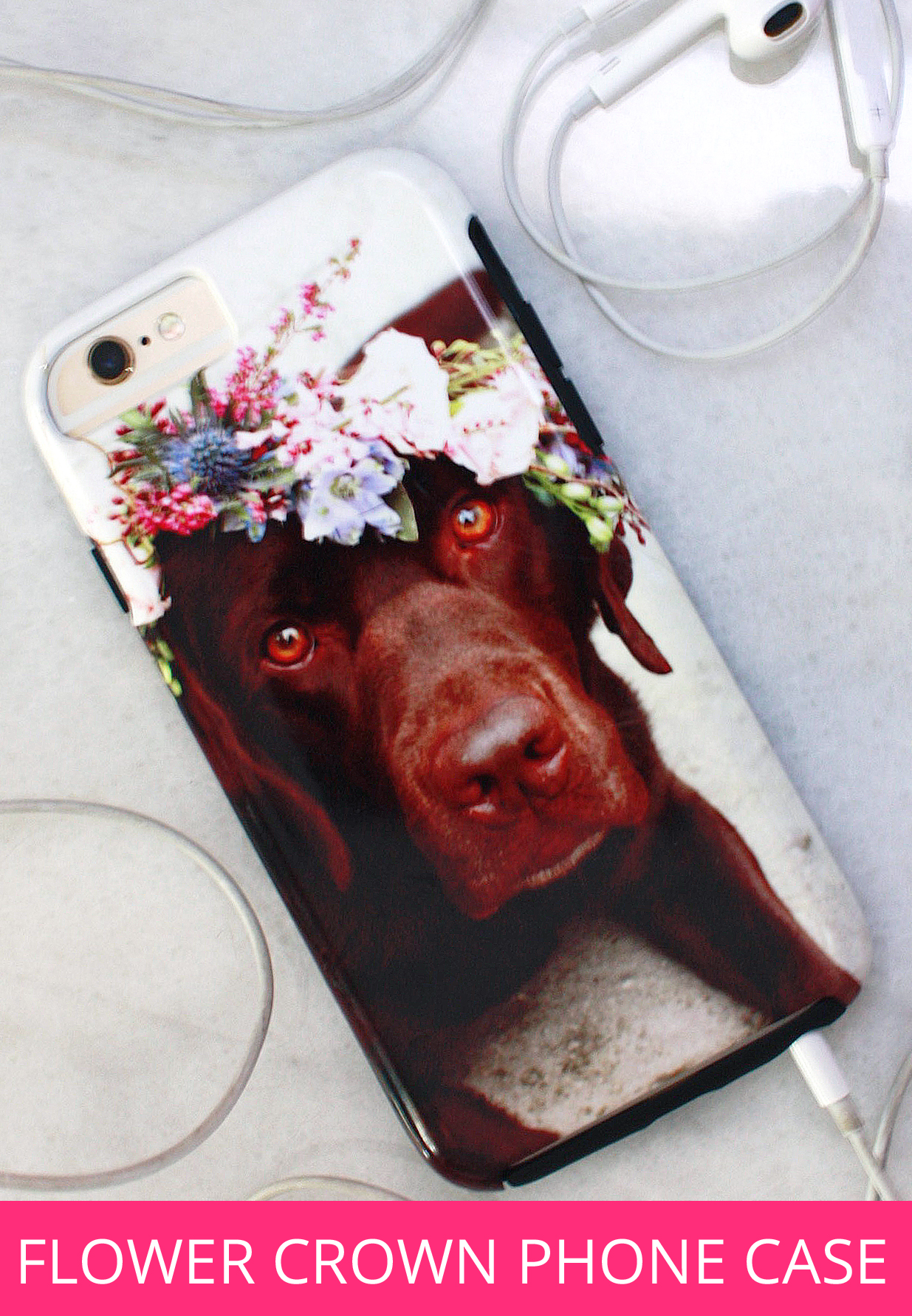 Chocolate Lab Flower Crown Phone Case