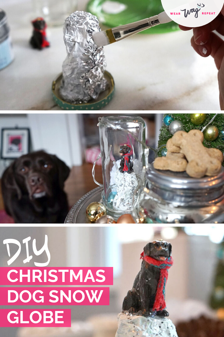 DIY christmas dog snow globe