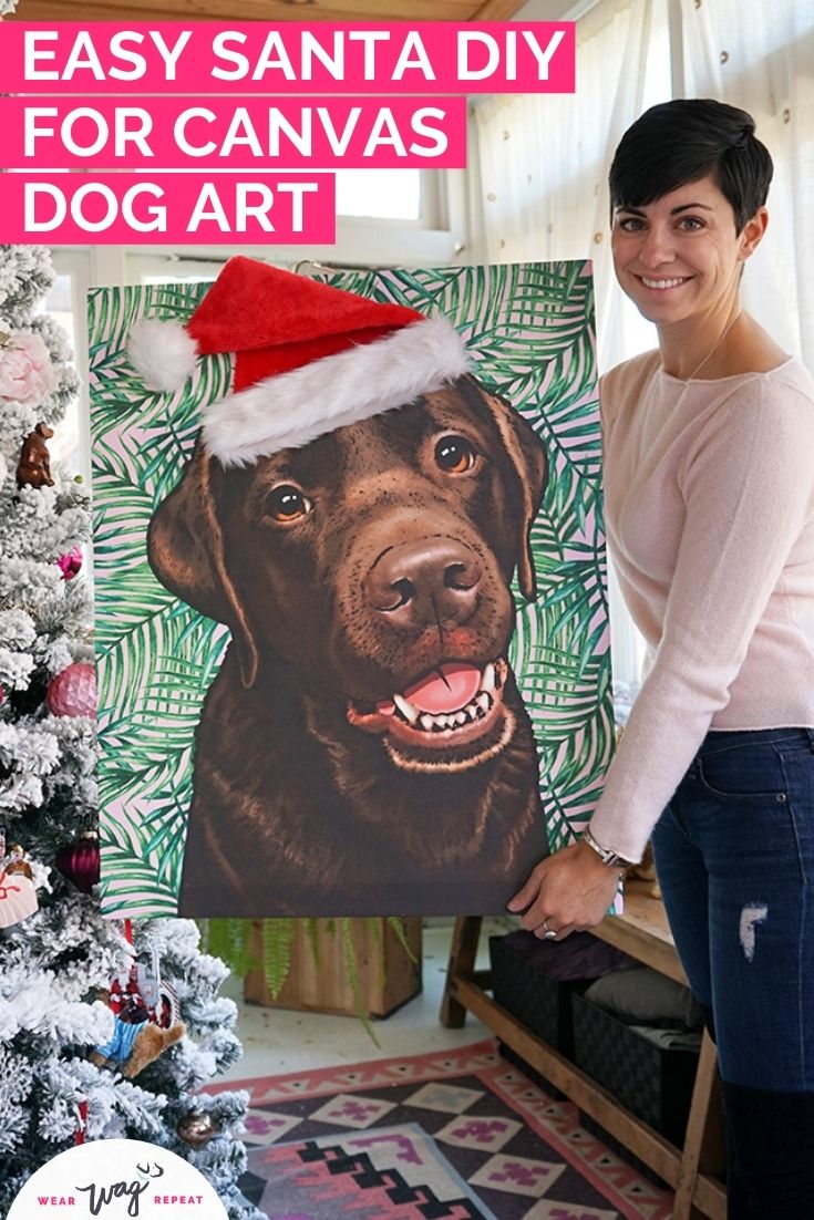 easy Santa DIY for dog canvas art
