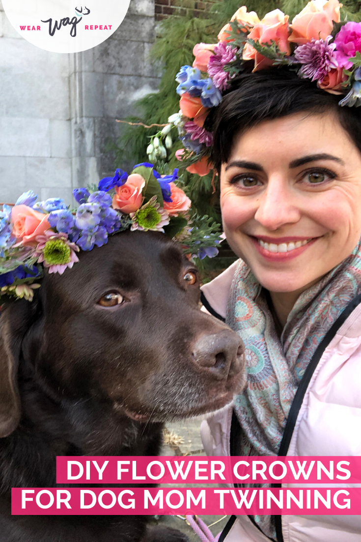 DIY Flower Crowns for dog mom twinning