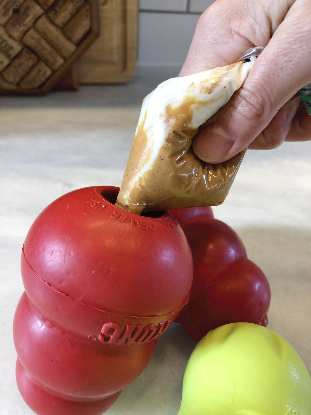 how to stuff a Kong with peanut butter