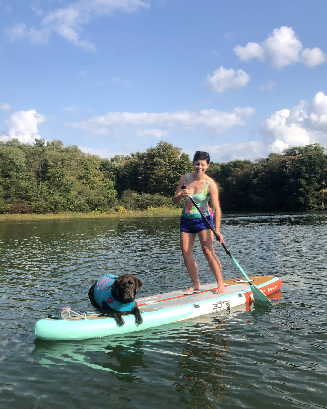 paddle board with big dog